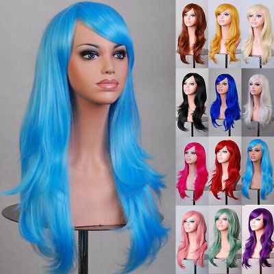Women's Lady Long Hair Wig Curly Wavy Synthetic Anime Cosplay Party Full Wigs