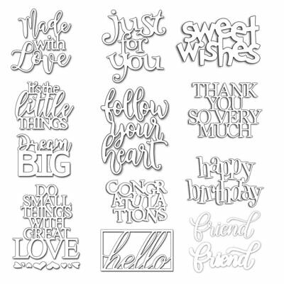 English Words Phrases Metal Cutting Dies Stencil for DIY Scrapbooking