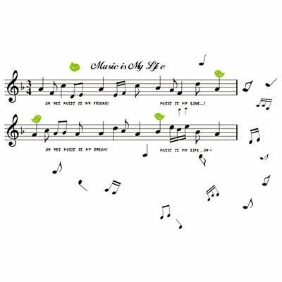 Household Musical Note Print Water Resistant Wall Sticker Black Green 70 x 50cm