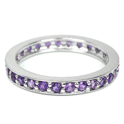 Natural Aaa Purple Amethyst Round Sterling 925 Silver Eternity Ring Size 8