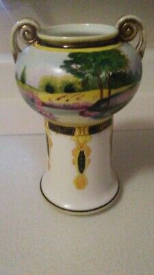 Nippon Double Handle Vase Hand painted  From Family Collection Stunning