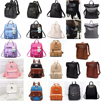 Women Leather School Backpack Satchel Travel Girls Rucksack Handbag Shoulder Bag