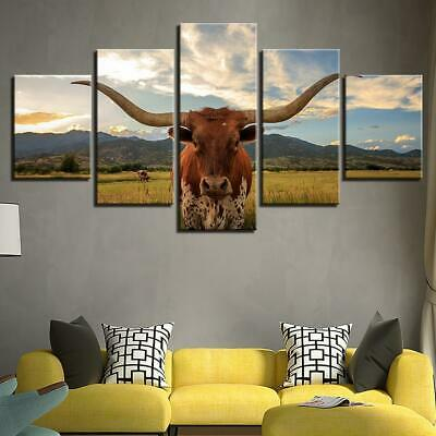 The Ox Bull Cow 5 panel canvas Wall Art Home Decor Poster Print