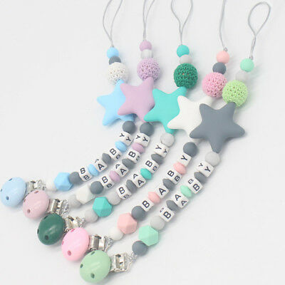 Baby Silicone Teething Soother Dummy Clip Pacifier Chain ( Don't Personalize)!