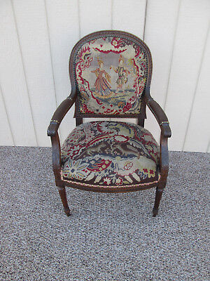 57455 Antique Carved Mahogany Needlepoint Armchair