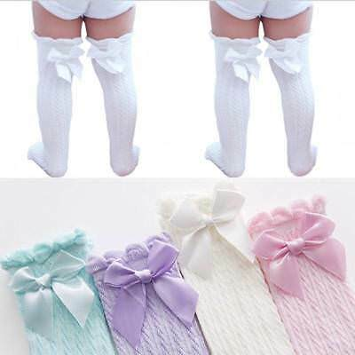 Toddler Kid Baby Girl Knee High Long Socks Bow Cotton Casual Stocking