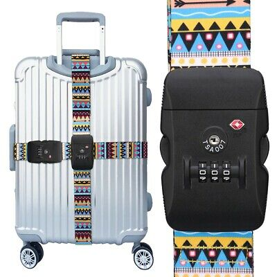 TSA Travel Luggage Strap with Approved Lock, Adjustable Suitcase Belt