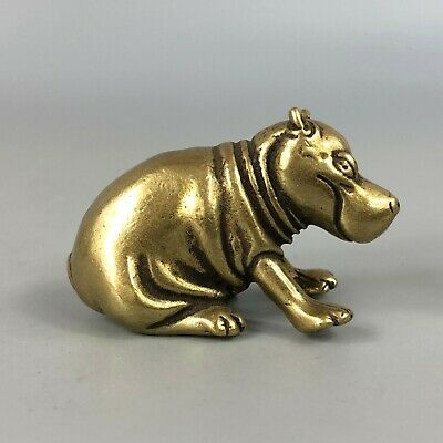 Rare Chinese Old Brass Handwork Collectible Antique Golden Hippopotamus Statue