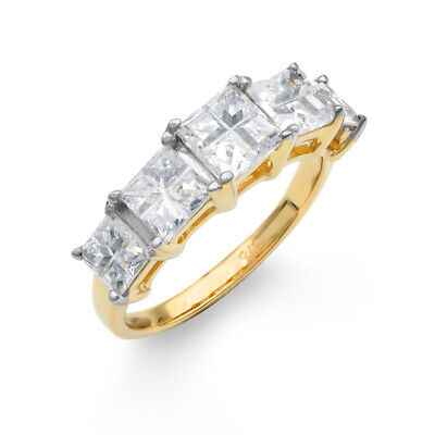 ccd213b9ec9d Jewelco London 9CT Oro Cz Ilusion Corte Princesa Anillo de Eternidad