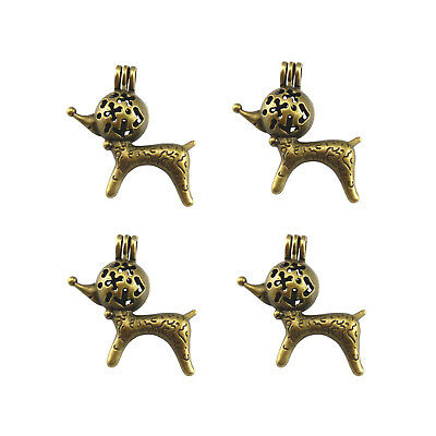 5pcs Zinc Alloy Retro Bronze Fox Shaped Beads Cage Locket Box Crafts Pendants
