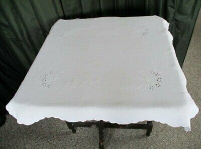 Antique Tablecloth - White Hand Embrodiery - Linen