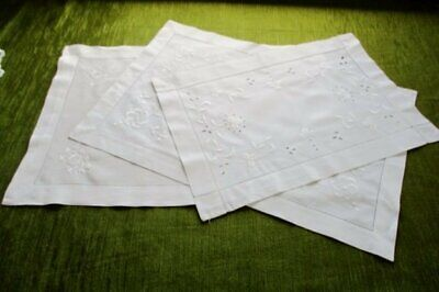 3 Antique Tray Cloths Decorated With Embroidery- All White