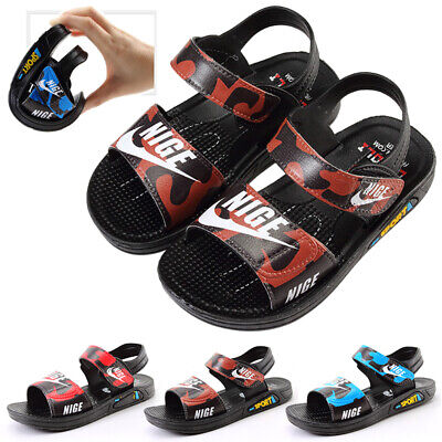 Kids Boys Children Sandals Shoes Peep Toe Strap Low Heel Casual Summer Size
