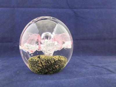 Hand Made Glass Paperweight White Clear and Pink with Gold Base.