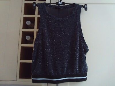 Girls short black silvery sleeveless top - New Look 915 - age 12-13 years