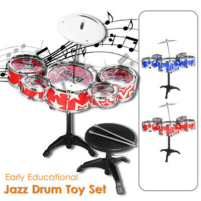 9Pcs Childs Kids Drum Kit Jazz Band Sound Drums Play Set Musical Toy With