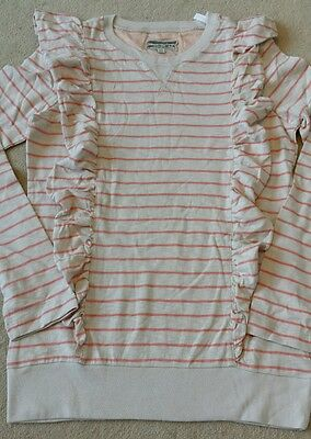 Joules beige stripe jumper with frill details. Size 11-12 years. Brand New