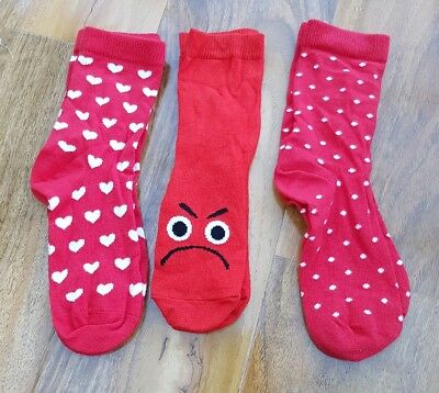 GEORGE GIRLS 3 Pairs Kids Cotton Rich FUNNY Socks RED BRAND NEW SIZE 9-12