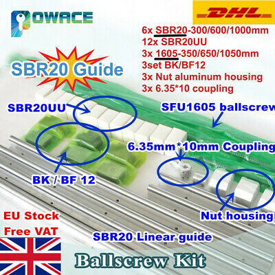 【EU】SFU RM1605 Ballscrew with Nut+BK/BF12+SBR20 Linear Rail 300/600/1000mm CNC