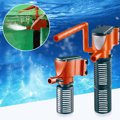 3 In 1 Aquarium Filter Submersible Oxygen Internal Fish Tank Air Water Pump Uk