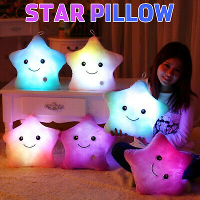 LED Star Pillow Glow Light Up Cushion Sofa Bed Plush  Toy Kids Gift Home