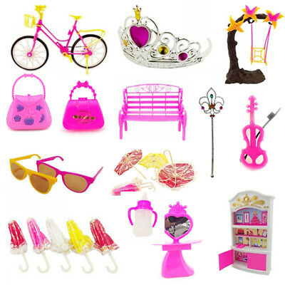 55pcs Clothes Party Gown Outfits For Barbie Dolls Accessories Shoes Bags D9