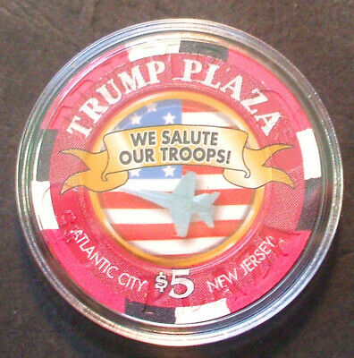 $5. TRUMP Plaza CASINO CHIP - We Salute Our Veterans - Limited Edition - Jet