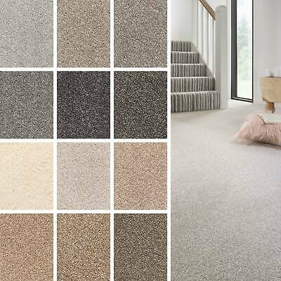 Soft Supreme Saxony Deep Pile Carpet Action Backed Plain Flecked Lounge 5m Wide
