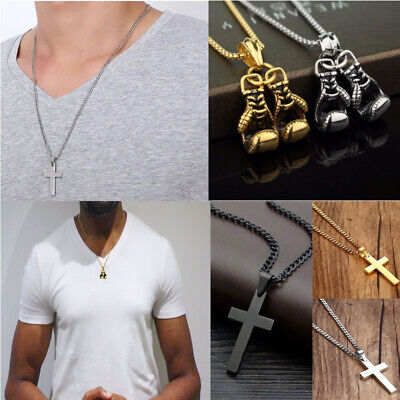 Mens Boys Silver Chain Black Crucifix Stainless Steel Cross Necklace Boxing AU