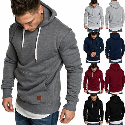 Winter Mens Hooded Hoodies Sweatshirt Sweater Jumper Outwear Coat Jacket Tops AU