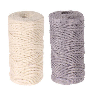 2x 100m Jute Cord 2mm String Crafts DIY Gift Wrap Twine Rope Packing Strings