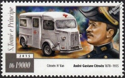 André-Gustave Citroën & CITROEN H-Type Van Ambulance Vehicle Car Stamp (2015)