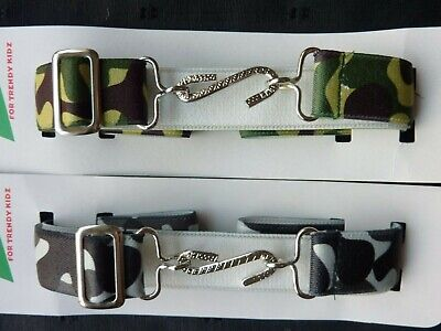 CAMOUFLAGE SNAKE BELTS for BOYS/GIRLS/CHILDREN - GREEN OR GREY - MADE IN UK