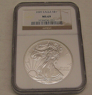 2009 American Silver Eagle Dollar NGC MS 69  Brown Label