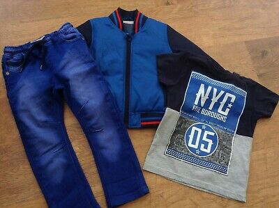 M+S Next Boys Small Spring  Bundle / Outfit 2-3Yrs Top Jeans Bomber Jacket