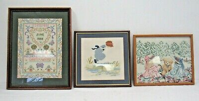 Set of 3 Completed and Framed Cross Stitch Pictures - KEY S6