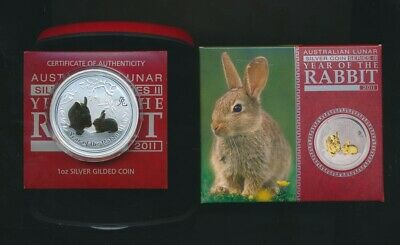 Australia: 2011 1oz Year of the Rabbit Gold Plated Silver $1, Cased with Cert