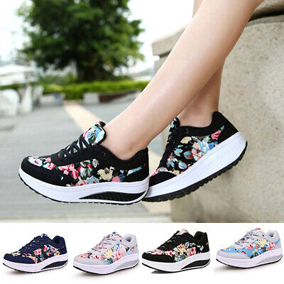 Shape Ups Womens Platform Tennis Athletic Shoes Lace UP Walking Sneakers Fitness