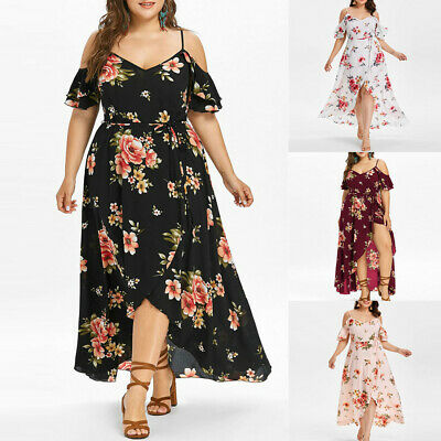 Ladies Cocktail Strappy Maxi Long Summer Backless Beach Boho Party Floral Dress