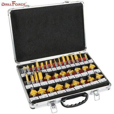 "Drillforce 35PCS 1/2""(12.7mm) Router Bits Set Professional Shank Tungsten Kit"