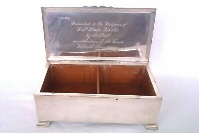Large Solid Silver Lidded Mappin & Webb Engine Turned Cigarette Box 1947  636grs