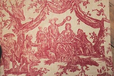 Toile de Jouy Fabric Antique Bed Cover Couronnement De La Rosiere 1782 textile