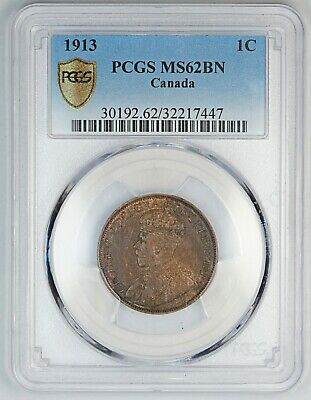 1913 PCGS MS 62 BN Canada / Canadian One Large Cent / Penny