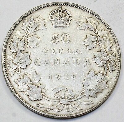 1916 Canada / Canadian Fifty Cent Half Dollar - VG Very Good Condition