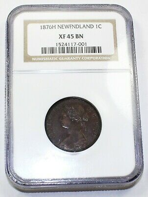 1876-H NGC XF 45 BN Canada / Canadian Newfoundland One Large Cent / Penny