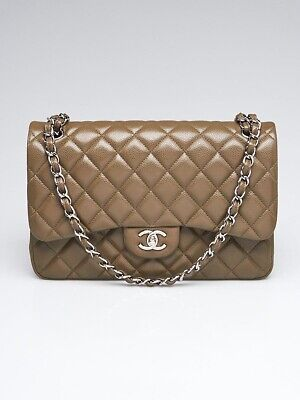 48031ffbb47e CHANEL BEIGE QUILTED Caviar Leather Jumbo Classic Double Flap Bag ...