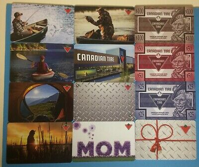 CANADIAN TIRE GIFT CARD LOT X 12 - New No Value - All Different