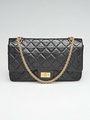 58a7fff3e76c Chanel Black 2.55 Reissue Quilted Classic Calfskin Leather 227 Jumbo Flap  Bag