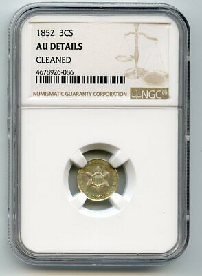 1852 Three Cent Silver (AU Details) NGC.   Cleaned.