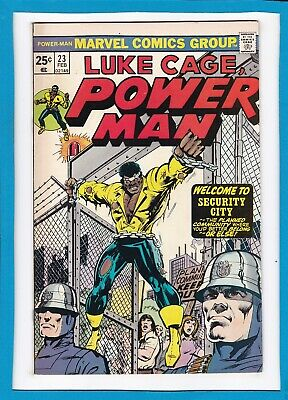 """Luke Cage, Power Man #23_February 1975_Nm Minus_""""welcome To Security City""""!"""